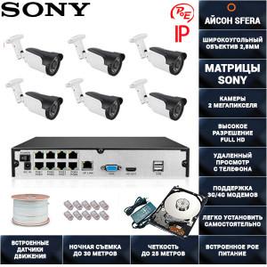 Система видеонаблюдения IP POE на 6 камер Айсон SFERA-6 PRO с жестким диском