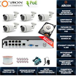 Система видеонаблюдения IP POE 5 мегапикселей на 5 камер Айсон ROKO-5 с жестким диском
