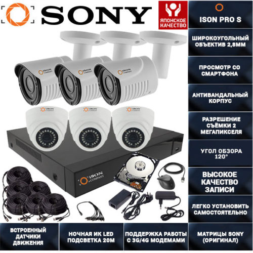 Готовая система видеонаблюдения на 6 камер ISON PRO S К3 с жестким диском