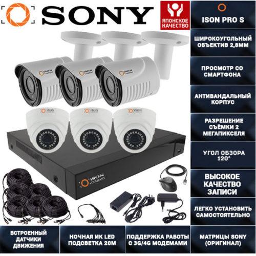 Готовая система видеонаблюдения на 6 камер ISON PRO S К3
