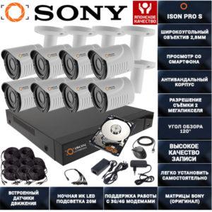 Готовая система видеонаблюдения на 8 камер ISON PRO S Бизнес с жестким диском
