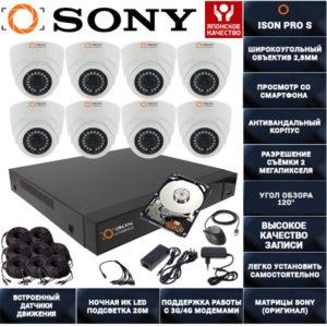 Готовая система видеонаблюдения на 8 камер ISON PRO S Бизнес K8 с жестким диском 1ТБ