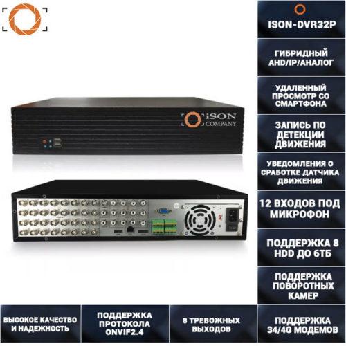 32 канальный гибридный регистратор IP+AHD+Аналог ISON-DVR32P