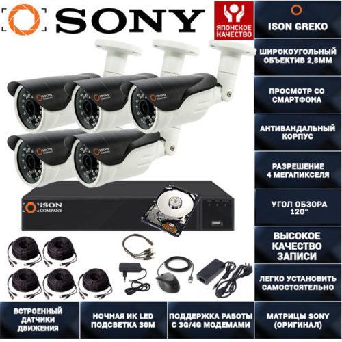 Система видеонаблюдения на 5 камер 4 мегапикселя Айсон Греко-5 с жестким диском