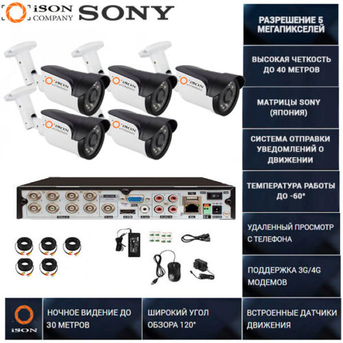 Система видеонаблюдения на 5 камер 5 мегапикселей ISON GREKO-5 PRO