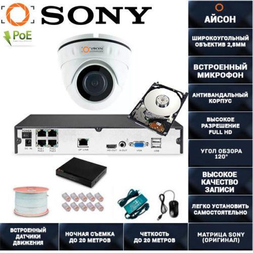 IP система видеонаблюдения со звуком Айсон МОЛ-1 с жестким диском 500гб