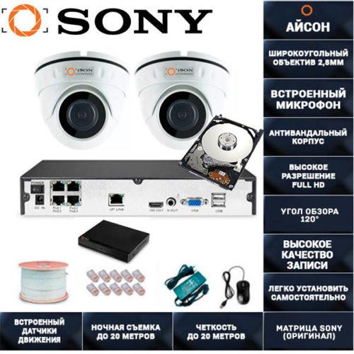 IP система видеонаблюдения со звуком Айсон МОЛ-2 с жестким диском 1000ГБ