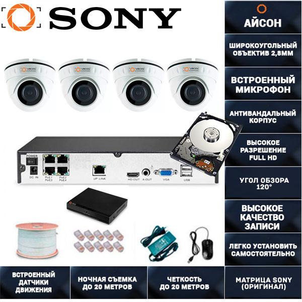 IP система видеонаблюдения со звуком Айсон MOL-4 с жестким диском