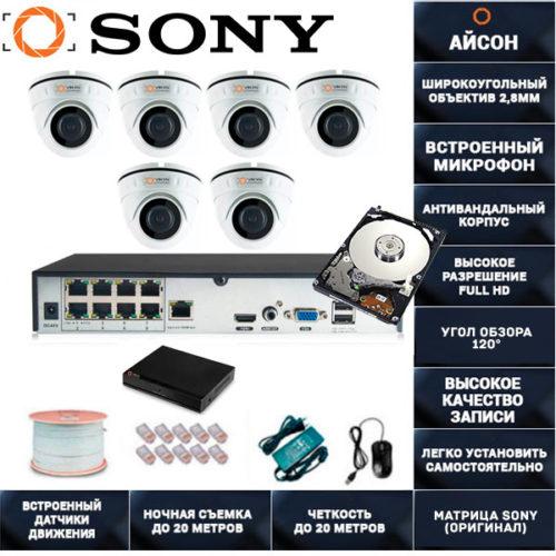 IP система видеонаблюдения со звуком Айсон MOL-6 с жестким диском