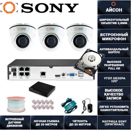IP система видеонаблюдения со звуком на 3 камеры Айсон МОЛ-3 с жестким диском