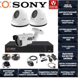 Готовая система видеонаблюдения ISON VS Подъезд-3 K2