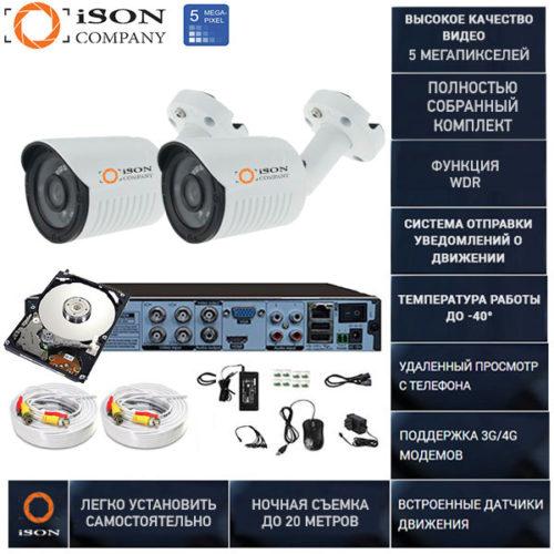 Готовая система видеонаблюдения на 2 камеры 5 мегапикселей Айсон TOR с жестким диском 1тб