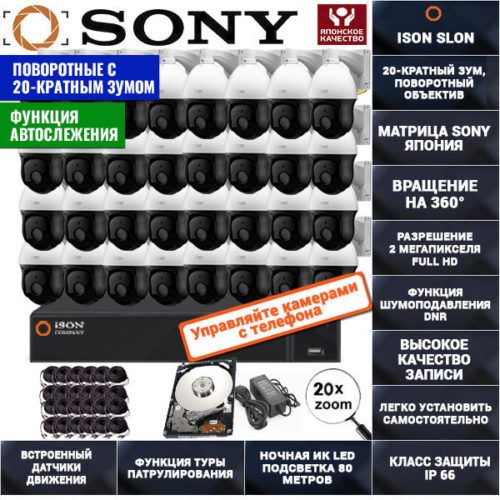 Система видеонаблюдения на 32 поворотные камеры 2 мегапикселя ISON SLON-32 с жёстким диском