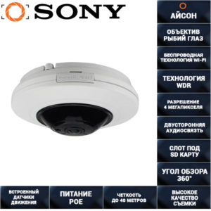 IP камера видеонаблюдения Fish EYE 4МП POE IPDE20H600