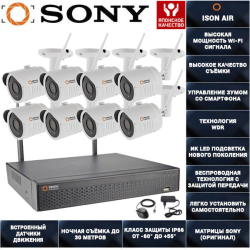 Беспроводная wi-fi система видеонаблюдения на 8 камер ISON AIR-8