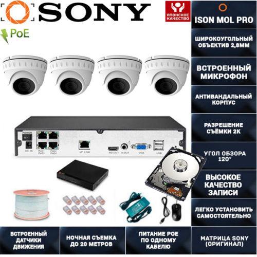 IP система видеонаблюдения со звуком на 4 камеры ISON MOL PRO-4 с жестким диском