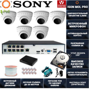 IP система видеонаблюдения со звуком на 6 камер ISON MOL PRO-6 с жестким диском