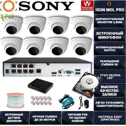 IP система видеонаблюдения со звуком на 8 камер ISON MOL PRO-8 с жестким диском