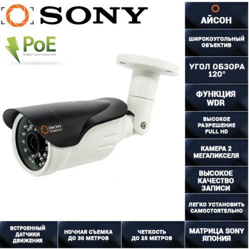 IP камера видеонаблюдения 2 мегапикселя с POE ISON IP20S-RD