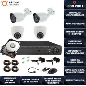Готовая система видеонаблюдения на 4 камеры 2 мегапикселя ISON PRO L-4 К2 с жестким диском
