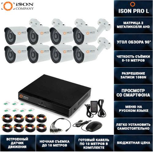 Готовая система видеонаблюдения на 8 камер 2 мегапикселя ISON PRO L-8