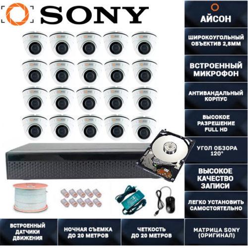 IP система видеонаблюдения 20 камер со звуком Айсон MOL-20 с жестким диском