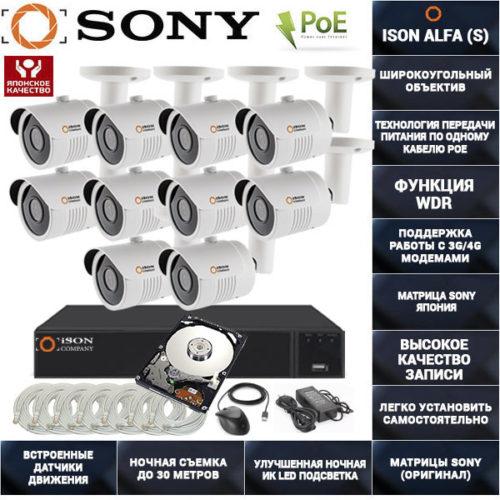 Готовая система видеонаблюдения на 10 камер с POE ISON ALFA-10 с жестким диском