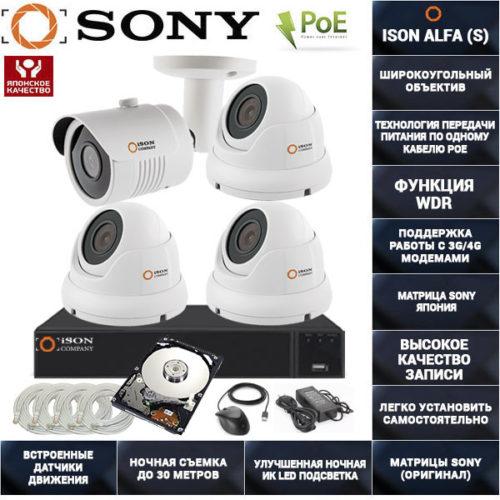 Готовая система видеонаблюдения на 4 камеры с POE ISON ALFA-4 К3 с жестким диском