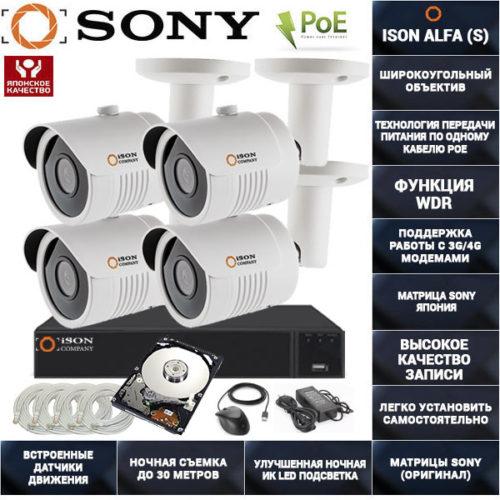 Готовая система видеонаблюдения на 4 камеры с POE ISON ALFA-4 с жестким диском