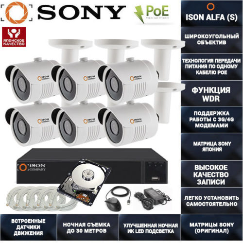 Готовая система видеонаблюдения на 6 камеры с POE ISON ALFA-6 с жестким диском