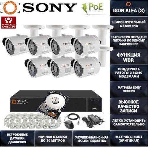 Готовая система видеонаблюдения на 7 камер POE ISON ALFA-7 с жестким диском