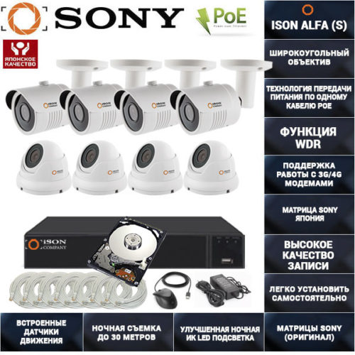Готовая система видеонаблюдения на 8 камер с POE ISON ALFA-8 K4 с жестким диском