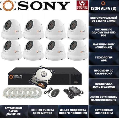 Готовая система видеонаблюдения на 8 камер с POE ISON ALFA-8 K8 с жестким диском