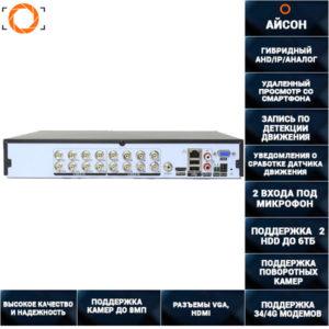 16 канальный видеорегистратор гибрид с двумя HDD GXVRCA1621