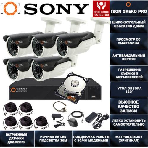 Система видеонаблюдения на 5 камер 5 мегапикселей ISON GREKO-5 PRO с жестким диском