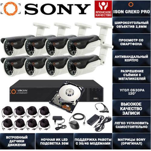 Система видеонаблюдения на 8 камер 5 мегапикселей ISON GREKO-8 PRO с жестким диском