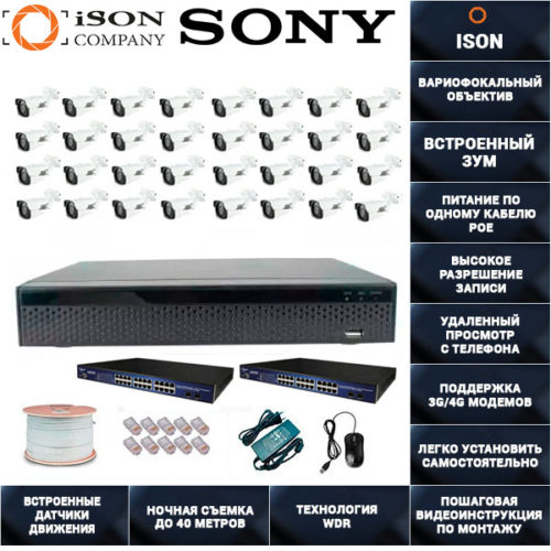 IP Система видеонаблюдения с зумом на 32 камеры POE ISON SPARK-32