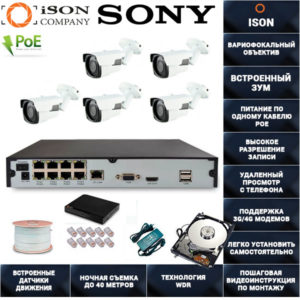 IP Система видеонаблюдения с зумом на 5 камер POE ISON SPARK-5 С ЖЕСТКИМ ДИСКОМ