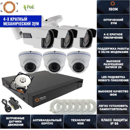IP система видеонаблюдения 4 мегапикселя айсон MOHO-6 К3 с жестким диском