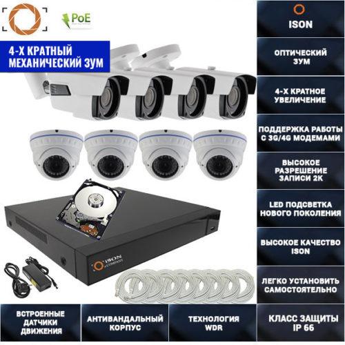 IP система видеонаблюдения 8 мегапикселей айсон MOHO-8 К4 с жестким диском