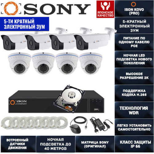 IP система видеонаблюдения на 8 камер POE с зумом ISON KOVO-8 К4 с жестким диском