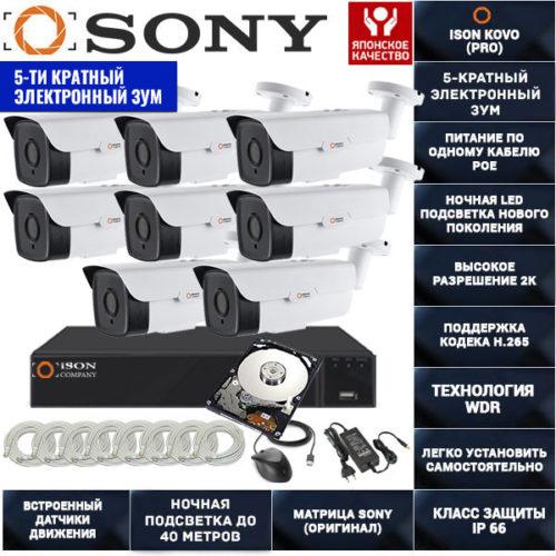 IP система видеонаблюдения на 8 камер POE с зумом ISON KOVO-8 с жестким диском