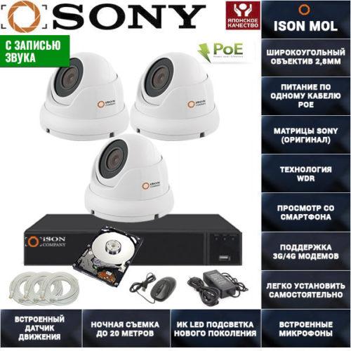 IP система видеонаблюдения со звуком на 3 камеры ISON MOL PRO-3 с жестким диском