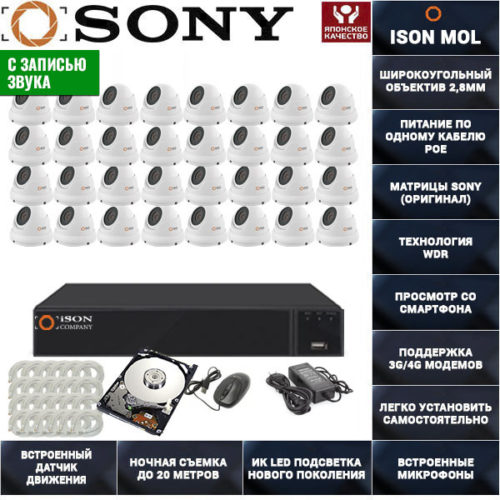 IP система видеонаблюдения со звуком на 32 камеры ISON MOL PRO-32 с жестким диском