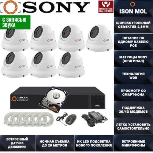 IP система видеонаблюдения со звуком на 7 камер ISON MOL PRO-7 с жестким диском