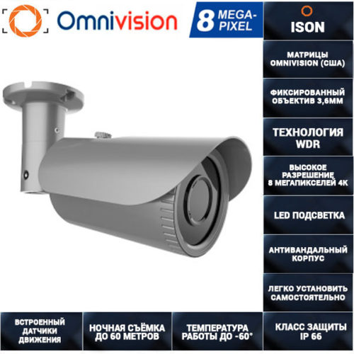 AHD камера видеонаблюдения 8 мегапикселей с POE AHDPT60HTC800V
