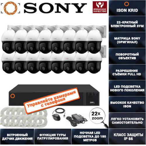 IP Система видеонаблюдения на 16 поворотных камер ISON KRID16