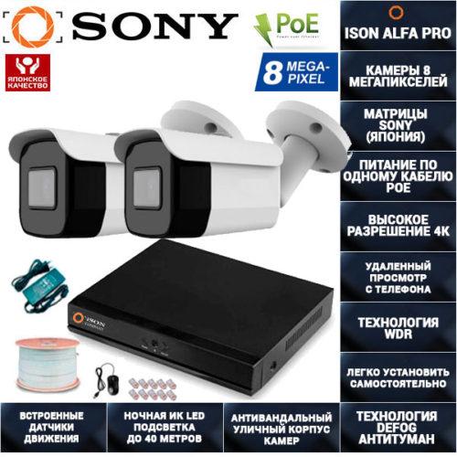 IP Система видеонаблюдения 2 камеры POE 8 мегапикселей ISON ALFA-2