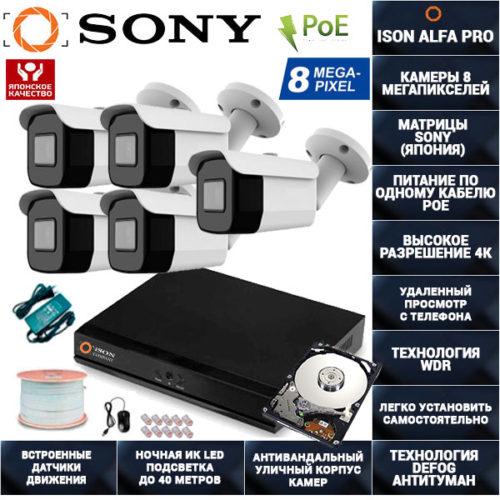 IP Система видеонаблюдения 5 камер POE 8 мегапикселей ISON ALFA-PRO-5 с жестким диском 1ТБ