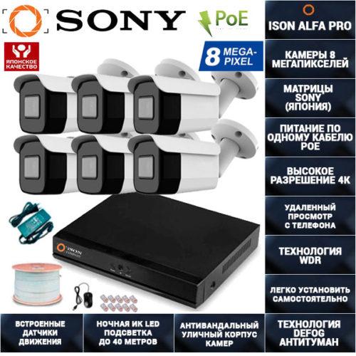 IP Система видеонаблюдения 6 камер POE 8 мегапикселей ISON ALFA-PRO-6
